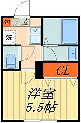 JR京浜東北・根岸線 蕨駅 徒歩9分の賃貸マンション 3階1Kの間取り