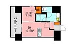 JR鹿児島本線 博多駅 徒歩21分の賃貸マンション 10階1DKの間取り