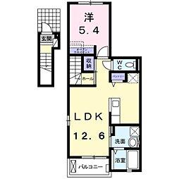 つくばエクスプレス 八潮駅 バス10分 中川やしおフラワーパ下車 徒歩4分の賃貸アパート 2階1LDKの間取り