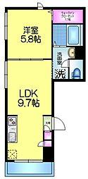 Sun Room 2階1LDKの間取り
