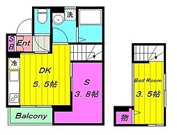 京王相模原線 京王稲田堤駅 徒歩6分の賃貸アパート 1階1SDKの間取り