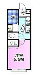 千葉県船橋市北本町2丁目の賃貸アパートの間取り