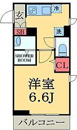 JR総武線 千葉駅 徒歩8分の賃貸マンション 4階1Kの間取り