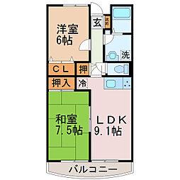 伊豆箱根鉄道駿豆線 大場駅 徒歩17分の賃貸マンション 3階2LDKの間取り