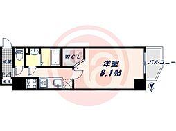 JR大阪環状線 桃谷駅 徒歩9分の賃貸マンション 8階1Kの間取り
