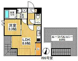 南海高野線 初芝駅 徒歩9分の賃貸アパート 2階1LDKの間取り