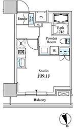 ベルファース芝浦タワー 8階ワンルームの間取り