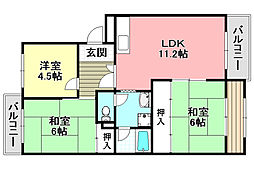 レジデンス吉川3号棟 4階3LDKの間取り