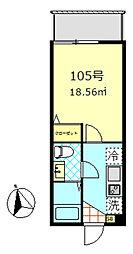 ベルエクラ蒲田[105号室]の間取り