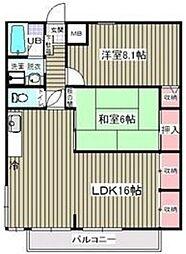 阿部南葛西第1マンション 2階2LDKの間取り