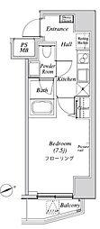 ニューガイア リルーム芝 7階1Kの間取り