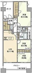 グランスイートブルー・ベイフロントタワー 22階3LDKの間取り