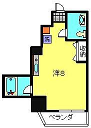 ルナマーレ 4階ワンルームの間取り