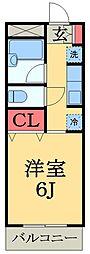 京成千原線 学園前駅 徒歩10分の賃貸アパート 2階1Kの間取り