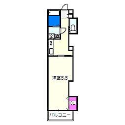 TKアンバーコート浜寺 2階1Kの間取り