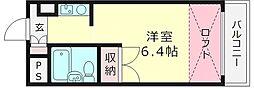 アカデミーコート鶴見 6階1Kの間取り