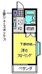 横浜市営地下鉄ブルーライン 下永谷駅 徒歩6分の賃貸アパート 2階1Kの間取り