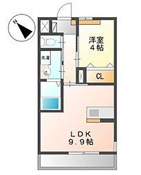 JR阪和線 和泉府中駅 徒歩23分の賃貸マンション 1階1LDKの間取り