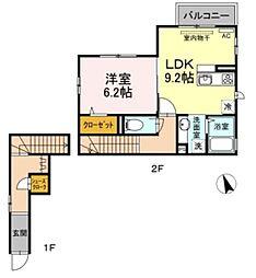 京王相模原線 京王稲田堤駅 徒歩6分の賃貸アパート 2階1LDKの間取り