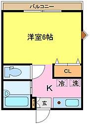 埼玉県さいたま市中央区上落合7丁目の賃貸アパートの間取り