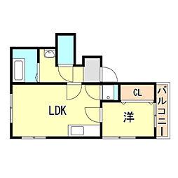 JR東海道・山陽本線 舞子駅 徒歩20分の賃貸マンション 2階1LDKの間取り