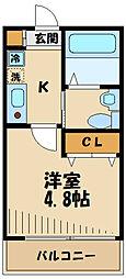 小田急小田原線 生田駅 徒歩7分の賃貸アパート 1階1Kの間取り