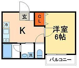 JR常磐線 北小金駅 徒歩7分の賃貸アパート 1階1Kの間取り