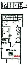 京王高尾線 京王片倉駅 徒歩13分の賃貸アパート 2階1Kの間取り