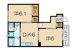 滋賀県東近江市五個荘五位田町の賃貸アパートの間取り