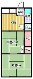 神奈川県川崎市多摩区菅仙谷1丁目の賃貸アパートの間取り