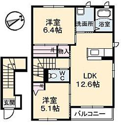 岡山県倉敷市福田町古新田の賃貸アパートの間取り