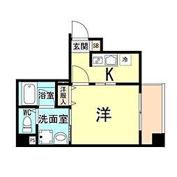 神戸市海岸線 ハーバーランド駅 徒歩10分の賃貸マンション 8階1Kの間取り