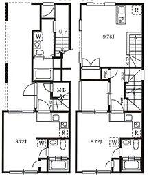 西武池袋線 椎名町駅 徒歩7分の賃貸マンション 4階ワンルームの間取り