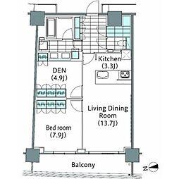 コンフォリア新宿イーストサイドタワー 5階1SLDKの間取り