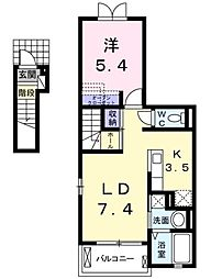 愛知県豊田市本町石根の賃貸アパートの間取り