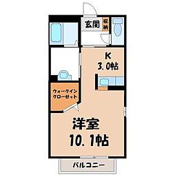 栃木県下都賀郡壬生町駅東町の賃貸アパートの間取り