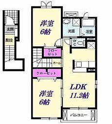 JR川越線 南古谷駅 徒歩8分の賃貸アパート 2階2LDKの間取り
