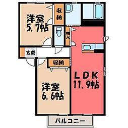 栃木県下都賀郡壬生町表町の賃貸アパートの間取り