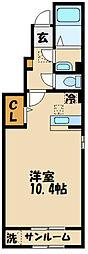 京王線 多磨霊園駅 徒歩8分の賃貸アパート 1階ワンルームの間取り