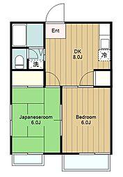 神奈川県藤沢市下土棚の賃貸アパートの間取り