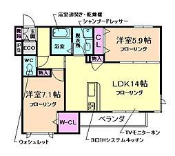 大阪府豊中市桜の町1丁目の賃貸マンションの間取り