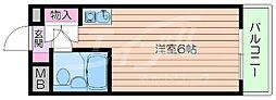 阪急千里線 南千里駅 徒歩12分の賃貸マンション 3階ワンルームの間取り