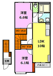 茨城県筑西市伊佐山の賃貸アパートの間取り