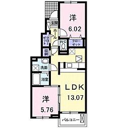 愛知県豊橋市東森岡1丁目の賃貸アパートの間取り