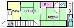 [テラスハウス] 大阪府枚方市牧野本町1丁目 の賃貸【/】の間取り