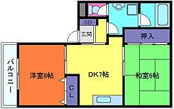 プチコーポ原田[4階]の間取り