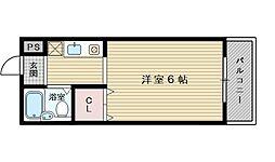 阪急京都本線 上新庄駅 徒歩14分の賃貸マンション 3階ワンルームの間取り