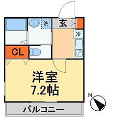 キャメル新松戸2A棟 1階1Kの間取り