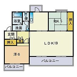 野間台住宅8棟[813号室]の間取り