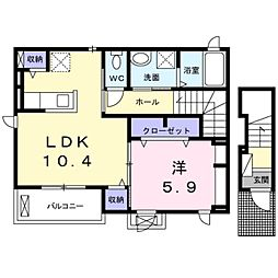 愛知県豊橋市東幸町字長山の賃貸アパートの間取り